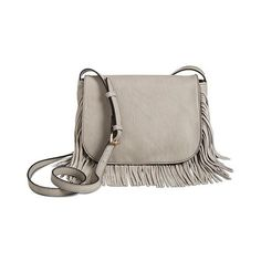 Women's Crossbody Handbag with Fringe - Grey (265 HRK) ❤ liked on Polyvore featuring bags, handbags, shoulder bags, grey, crossbody handbags, cross body fringe purse, gray handbags, moda luxe handbags and fringe crossbody