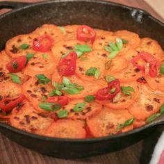 Thanksgiving Scallion Chile Sweet Potato Cake Daphne Oz~Serve with scallion/parsley salad on top
