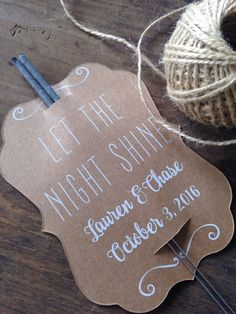 Large Sparkler tags, for your unique wedding send off! LET THE NIGHT SHINE!  By popular request, we have added a larger tag to our sparkler tag line up, which is a much better fit for the large & xlarge sparklers. OR use these as a sparkler card & give two or three small sparklers to each guest... Each elegant rectangle, printed on heavyweight recycled card stock, measures 4.75 long by 3.5 wide tip to tip. Weave your sparkler through as shown in the photos (we show with a paper straw to…