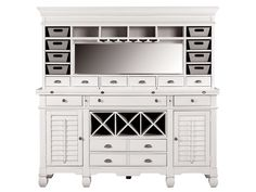 Plantation Cove White Buffet & Hutch - Value City Furniture, available in black.