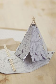Paper craft is also great because it makes your DIY wedding invitations interactive. It doesn't just have to be classic origami either – look at this amazing teepee wedding invitation made with folded paper and cocktail sticks, it's amazing. Creative Wedding Invitations, Wedding Stationary, Origami Wedding Invitations, Original Wedding Invitations, Interaktives Design, Print Design, Nail Design, Design Patterns, Custom Design
