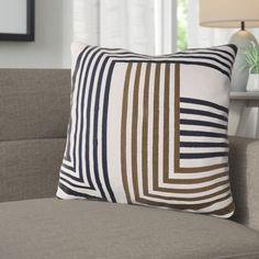 "Corrigan Studio Sandrine Cotton Throw Pillow Size: 18"" H x 18"" W x 4"" D, Color: Light Gray / Dark Brown / Navy"
