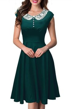 Noble Peter Pan Collar Cap Sleeve Lace Spliced Dress For Women