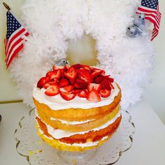 Layered Lemon Cake With Whip Cream And Fruit | 25 Ways To Have The Most Patriotic 4th Of July Party