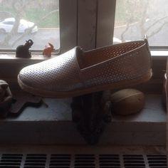Vegan Leather Espadrilles. Metallic Silver. New, Comfortable, Never Worn. Metallic Silver. Shoes Espadrilles