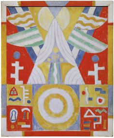 """""""Arrangement – Hieroglyphics (Painting No. 2), 1914, Marsden Hartley  Hartley lived in Germany between 1913 and 1915, where he was inspired by avant-garde artist Wassily Kandinsky. Hartley began to create colorful abstractions, including his Amerika series of paintings, to which this canvas and its painted frame belong."""