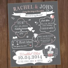 Check out our new Chalkboard CUSTOM LOVE STORY Poster! By our Invitation Line: Aurora Invited on Etsy! Etsy.com/listing/206658173/custom-chalkboard-wedding-love-story
