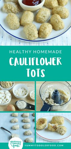 Combine 6 simple ingredients into crunchy and tender homemade Cauliflower Tots! (Pssst: There's quinoa inside! Finger Foods For Kids, Baby Finger Foods, Kid Foods, Easy Dinners For Kids, Kids Meals, Family Meals, Healthy Toddler Meals, Toddler Food, Cauliflower Tots