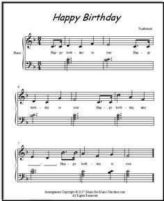 Happy Birthday for piano with little chords and a few lettered notes for elementary students