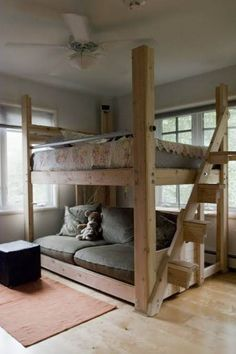 Cool and Fun Loft Beds for Kids Loft Bed- this one is done in a more adult fashion. Great for urban living. Perfect for a studio apartmentLoft Bed- this one is done in a more adult fashion. Great for urban living. Perfect for a studio apartment Dream Bedroom, Girls Bedroom, Bedroom Ideas, Bedroom Loft, Diy Bed Loft, Full Bed Loft, Cool Loft Beds, Master Bedroom, Loft Bed Plans