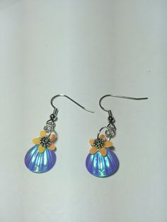 Blue shell sequins earrings!