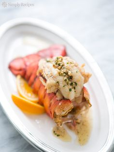 Broiled lobster tail with a sauce of brown butter and toasted hazelnuts. Delicious! On SimplyRecipes.com