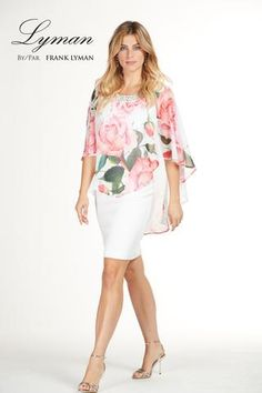 Stunning cocktail dress with flattering chiffon floral overlay. Proudly Made in Canada