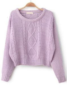 Purple Long Sleeve Cable Knit Pullover Sweater - Sheinside.com  //  white jeans & jewelry  //  lavender heels & bag