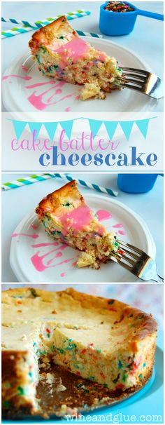 Cake Batter Cheesecake - Almost as good as licking the beaters! Cake Batter Cheesecake, Cheesecake Recipes, Dessert Recipes, Just Desserts, Delicious Desserts, Yummy Food, Oreo Desserts, Plated Desserts, Cupcake Cakes
