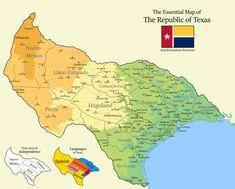 Republic Of Texas, The Republic, Llano Estacado, Fantasy Map Generator, Imaginary Maps, Flag Art, Alternate History, Fictional World, World Maps