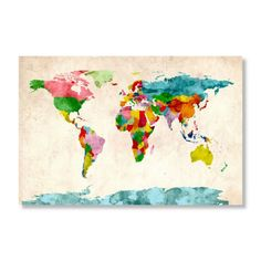 Find it at the Foundary - Watercolor World Map by Michael Tompsett