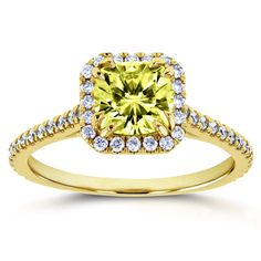 Annello by Kobelli 14k Yellow Gold Color Moissanite and 1/3ct TDW Diamond Halo Engagement Ring (GH, I1-I2) (Size