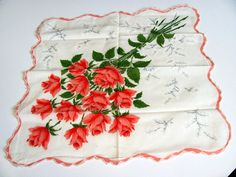 1 Ladies Hanky Red and Pink Roses / Scalloped by VintageLoversShop