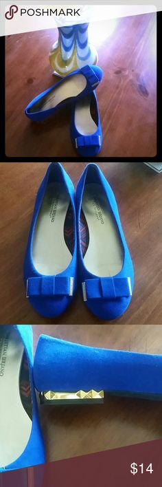Christian Siriano Flats These flats are so cute! Bright cobalt blue with gold accents on the bows and heels. I've worn them a few times. They're a little big/wide for me. Great condition. Christian Siriano  Shoes Flats & Loafers