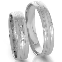 unusual wedding rings polished with diamonds in white gold Unusual Wedding Rings, White Gold Wedding Rings, Shed Wedding, Beautiful Diamond Rings, 925 Silver, Engagement Rings, Diamonds, Jewelry, Germany