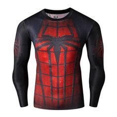 SuperHero Compression Long Sleeve T-Shirt Spiderman Red Quick Dry Form Fit Muscle shirt
