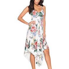 Casual Floral Print Spaghetti Strap Summer Boho Beach Dress