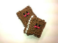 Rainbow Loom - 3D Happy ICE CREAM SANDWICH  Charm. Designed and loomed by Ellen Carpenter at feelinspiffy. Click photo for YouTube Tutorial. 08/20/14.