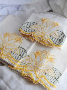 embroidered water lily pillowcases & scarf
