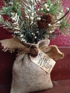 """Vintage Inspired """"Wynter"""" Burlap Sack ~ Christmas and Winter Primitives at http://www.finecountrylivingprimitives.com"""