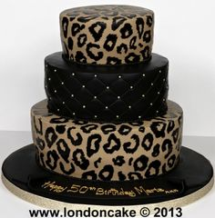 Graduation Layer Cakes for Girls | 4385 3 tier leopard print cake.jpg