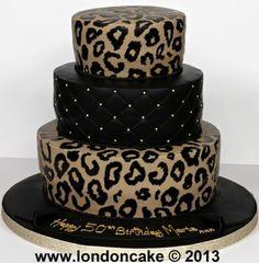 Graduation Layer Cakes for Girls | 4385 3 tier leopard print cake.jpg