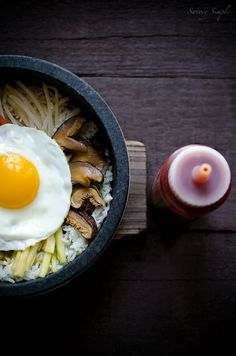 A delicious, easy recipe for making Korean dolsot bibimbap at home! @Jennifer Farley | Savory Simple