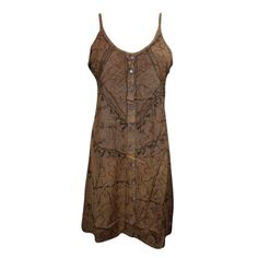 Mogul Ladies Bohemian Tank Dress Stonewashed Strappy Brown Embroidered Button Front SunDress M    https://www.walmart.com/search/?grid=true&query=mogul+interior+dress+#searchProductResult