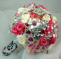 Pink and white brooch bouquet for when Lauren gets married. @Lauren Berry