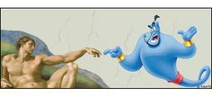"""The Creation of Adam, prosperity-gospel version: """"Thank you so much for rubbing my lamp! How can I serve you, Adam?"""""""