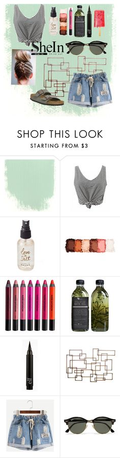 """Denim Shorts"" by questperfection19 ❤ liked on Polyvore featuring Olivine, NYX, Urban Decay, AMBRE, Ray-Ban and Birkenstock"