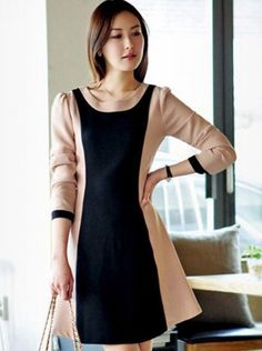 Elegant Contract Color Long Sleeve Dress