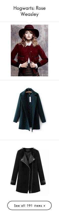 """Hogwarts: Rose Weasley"" by deborah-bilello ❤ liked on Polyvore featuring emma stone, outerwear, coats, jackets, abrigo, vestes, woolen coat, slim fit coat, black overcoat and slim fit wool overcoat"