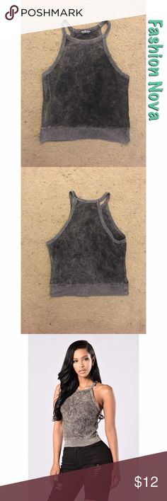 Between a Rock and a Hard Place Crop Top Between a Rock and a Hard Place Tank crop top. Color: Charcoal. Size: Large. Brand: Fashion Nova. It comes up to under the stomach, so it'll look best with high waist bottoms. Mineral wash. Material: 82% Cotton,    11% Polyester, 5% Rayon, and 2% Spandex. The top is modeled in the last photo. Fashion Nova Tops Crop Tops