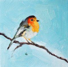 Robin on a branch - Original oil painting, bird portrait 8x8 Inch. $50.00, via Etsy.
