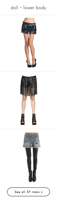 """""""doll ~ lower body"""" by shadow-dancer-artist ❤ liked on Polyvore featuring shorts, fringe shorts, zipper shorts, embellished shorts, long shorts, studded shorts, black, bottoms, home and pants+trousers"""