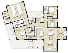 Truoba class 119 modern house plan designed for contemporary living Modern House Floor Plans, House Plans, Home Design Plans, Plan Design, The Plan, How To Plan, Room Layout Design, Floor Plan Layout, Custom Home Designs