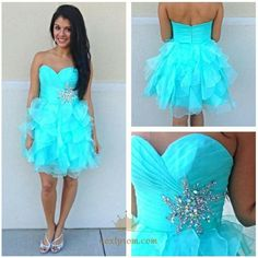 Description: Silhouette: A-line Neckline: Sweetheart Hemline/Train:Short/Mini Sleeve Length:Sleeveless Embellishment:Ruffles,Rhinestone Back Details:Zipper Fabric:Tulle Blue Homecoming Dresses, Cute Prom Dresses, Prom Dresses 2017, Bridesmaid Dresses, Formal Dresses, Graduation Dresses, Prom Gowns, Dresses Uk, Evening Dresses