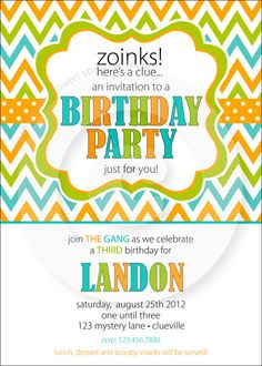 Scooby Doo Party Collection - Invitation - P.I.Y. (print-it-yourself). $15.50, via Etsy.