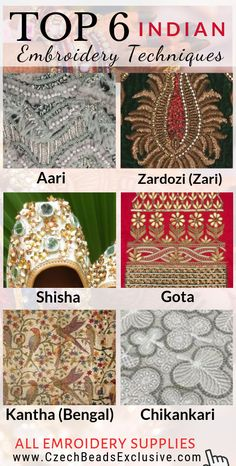 Where to Buy and How To Use French, Bullion Wire, Hook, Threads, Stones – Indian Embroidery Techniques – BEAD Bullion Embroidery, Zardozi Embroidery, Tambour Embroidery, Embroidery Stitches Tutorial, Hand Work Embroidery, Embroidery On Clothes, Simple Embroidery, Types Of Embroidery, Hand Embroidery Patterns