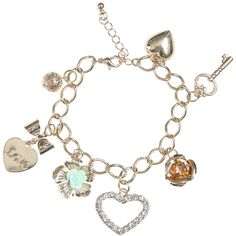 Bow Love Charm Bracelet (11 CAD) ❤ liked on Polyvore featuring jewelry, bracelets, accessories, charm, bow charm, rose charm bracelet, bead charms, bracelet bead charms and charm jewelry
