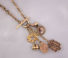 Vintage Repurposed Jewelry - Antique Watch Chain, Fob Charm Necklace by JryenDesigns Follow me on Facebook: https://www.facebook.com/JRyenDesigns