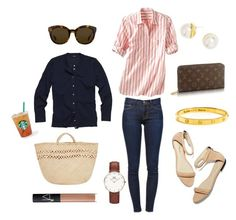 """""""Chilly Morning in the Sunshine State"""" by pinkngreennblack ❤ liked on Polyvore featuring NARS Cosmetics, BaubleBar, Daniel Wellington, Gap, Linda Farrow, Luella, Frame Denim, J.Crew and 3.1 Phillip Lim"""