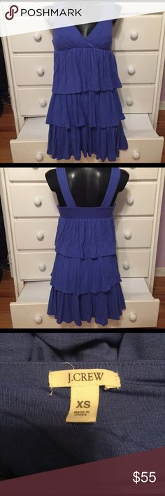 """J. Crew Periwinkle Ruffle Dress This dress is so comfortable and fun. It's in good used condition and needs a new home. The length is 31"""". Please feel free to make an offer. 😊 J. Crew Dresses"""